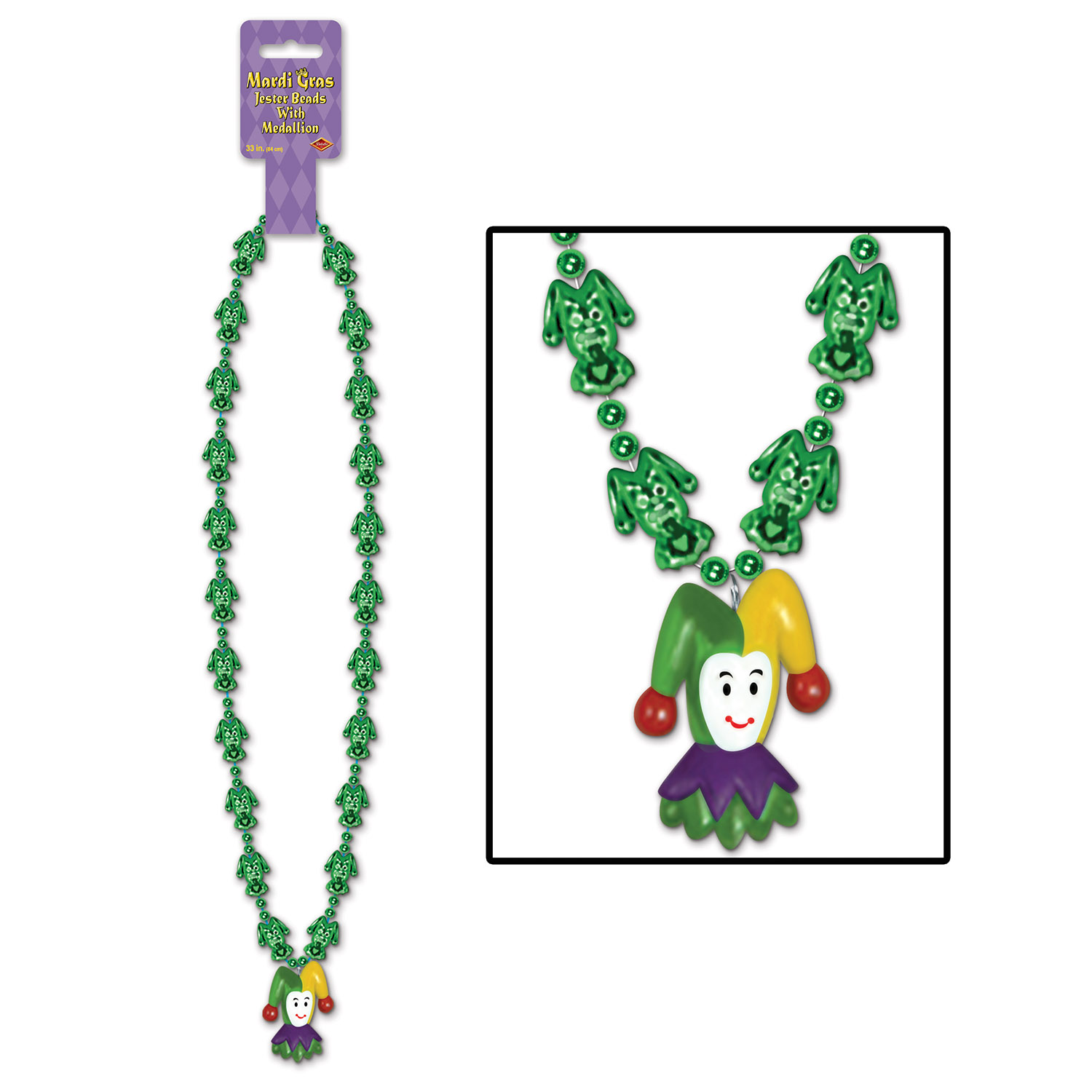 mardi gras bead with a jester medallion that is smiling at the bottom with little green jesters going around the necklace