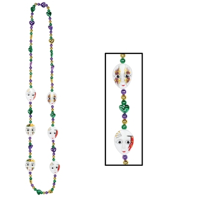 mardi gras beads with little mime faces going around the necklace.
