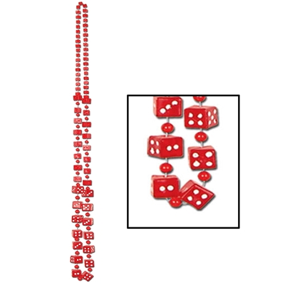 necklace with red beads with white dots to indicate the number on them