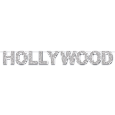 hanging streamer banner that says hollywood in glittered silver on a white background