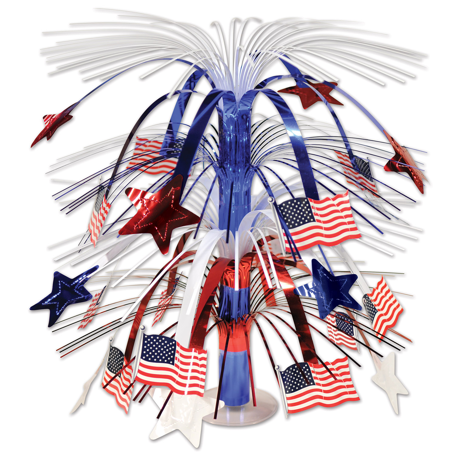 Patriotic centerpiece with red white and blue stars with american flags hanging off of the metallic centerpiece