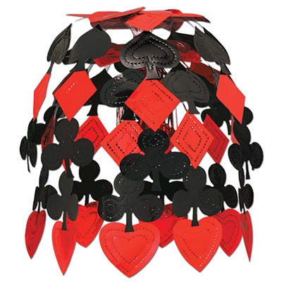 red and black hanging decoration with hearts, diamonds, clubs, and spades