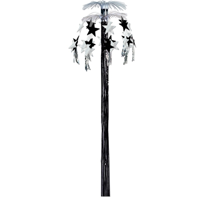 Metallic silver hanging cascade fountain with black and silver stars hanging from the top and black tassel in the center.