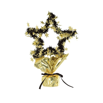 Metallic gold and black wired table centerpiece molded into the shape of a star and wrapped in black fringe and gold star embelishments.