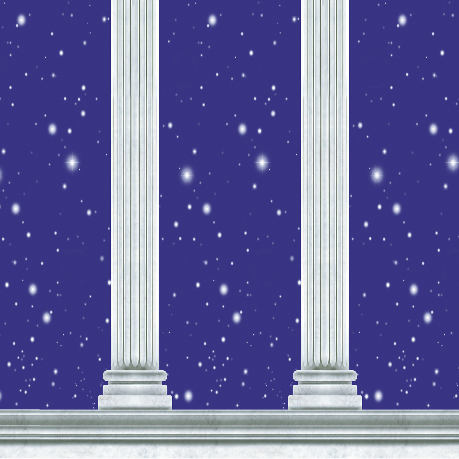 backdrop with white columns in front of a dark blue sky with stars