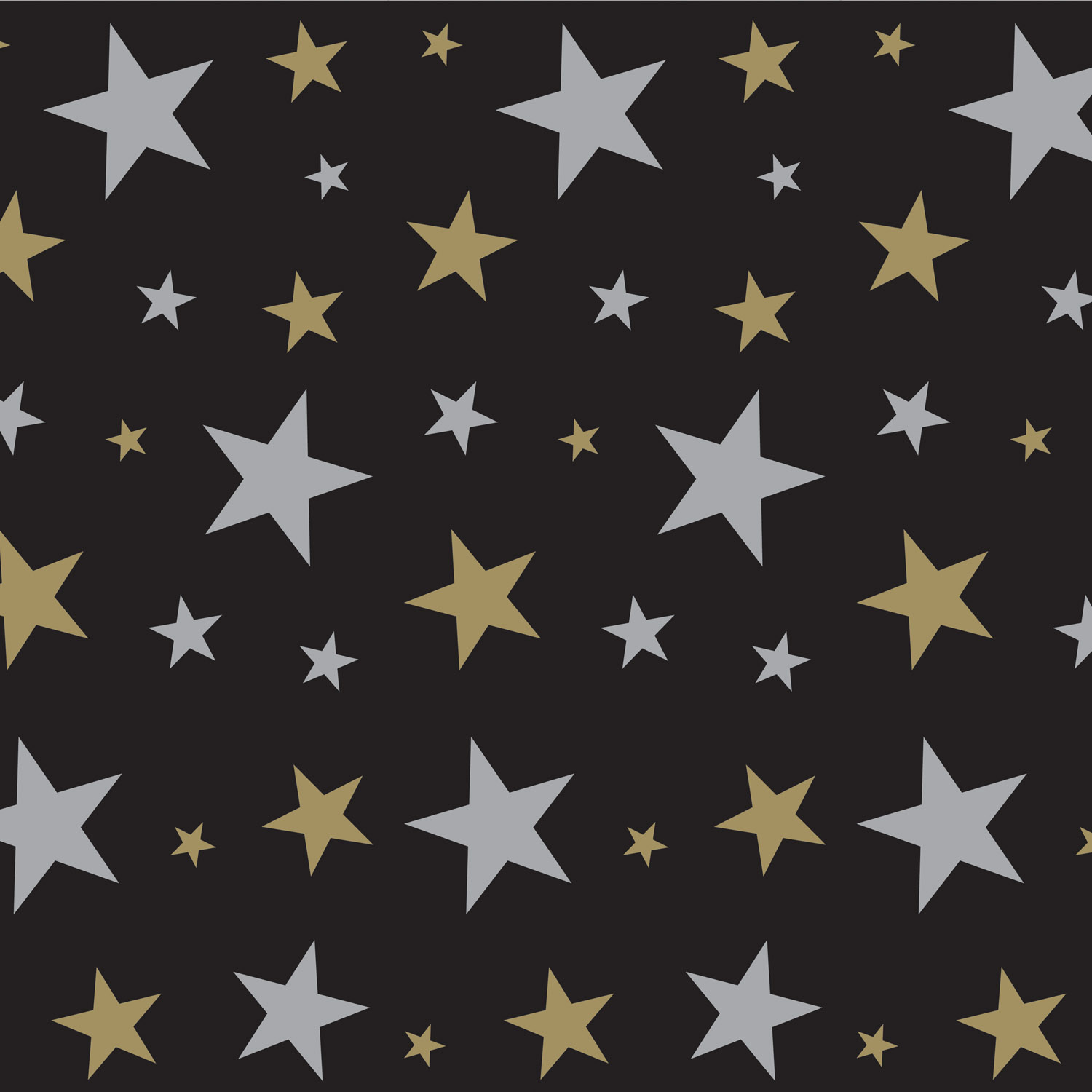 Black plastic photo backdrop with silver and gold stars