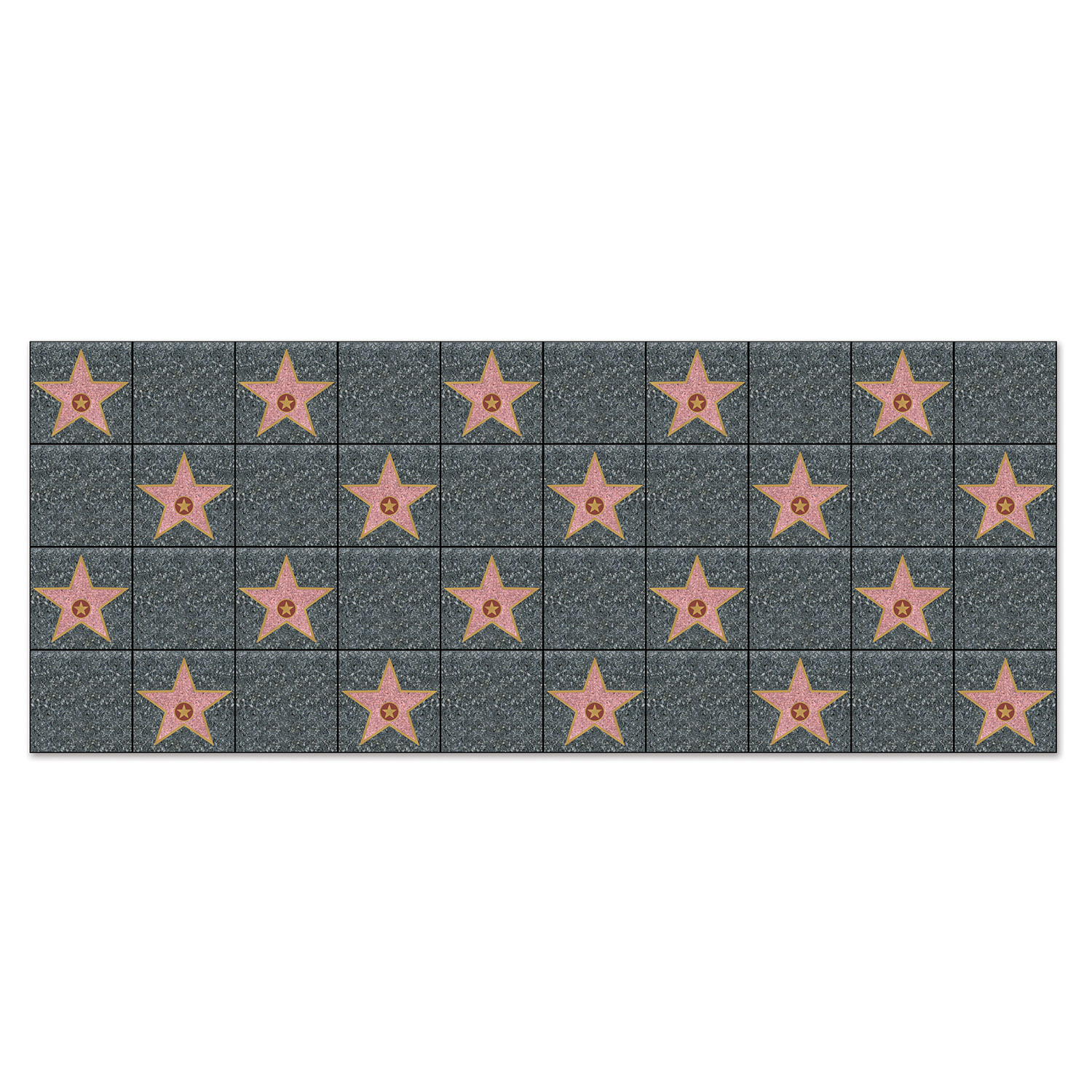 """Star"" Backdrop with a squares of gray and pattern of pink stars printed on thin plastic material."