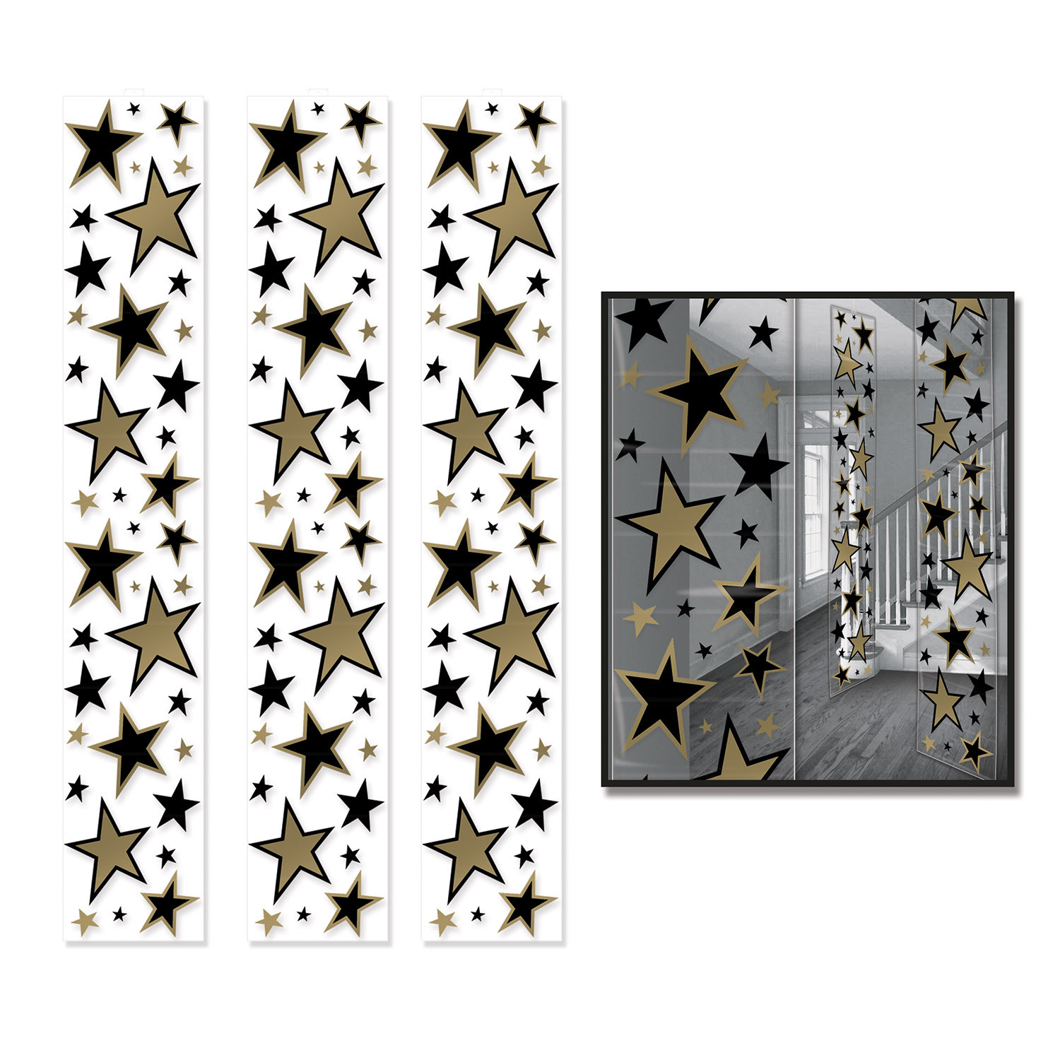 Clear Star Party Panels with gold and black stars in various sizes.