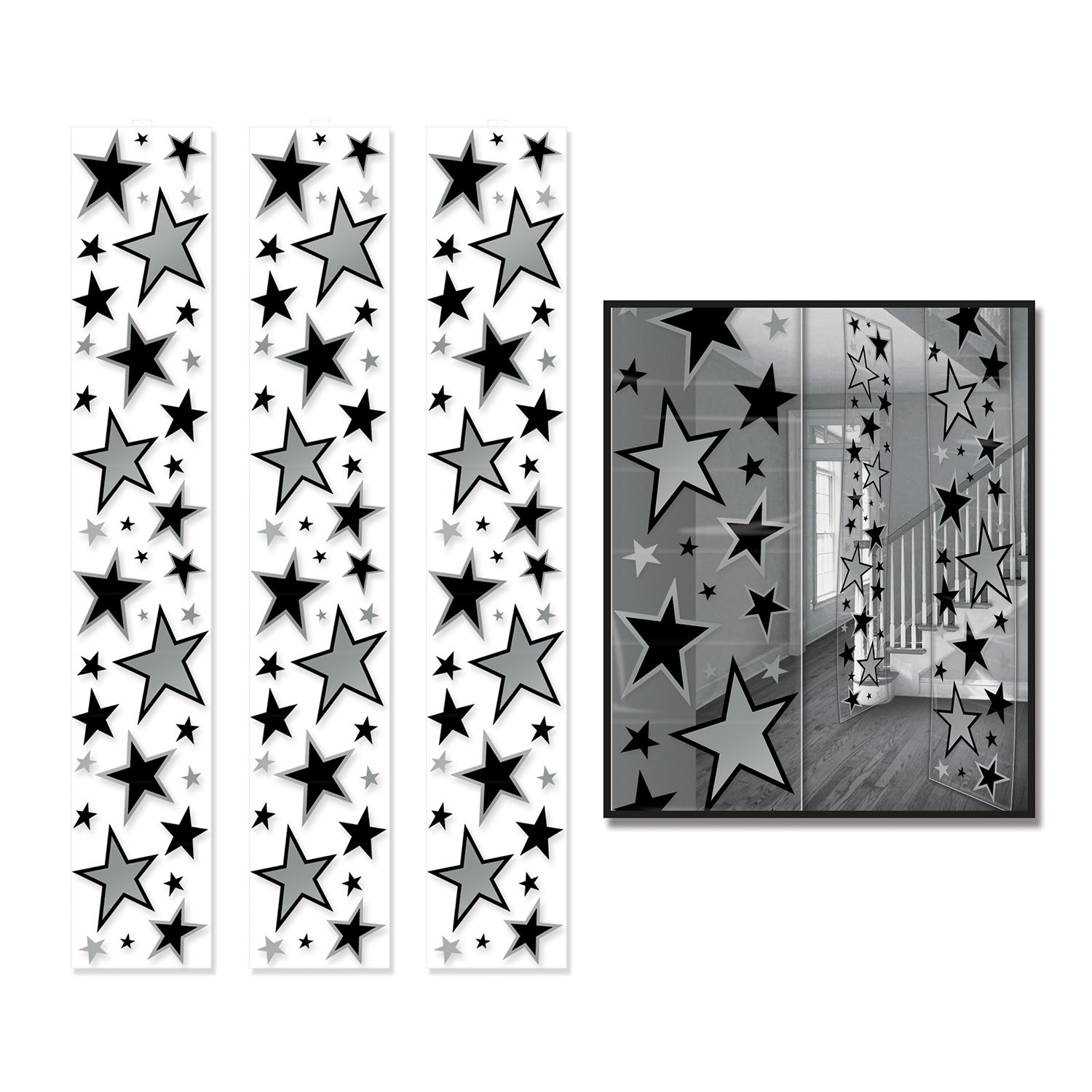 Clear Star Party Panels with silver and black stars in various sizes.