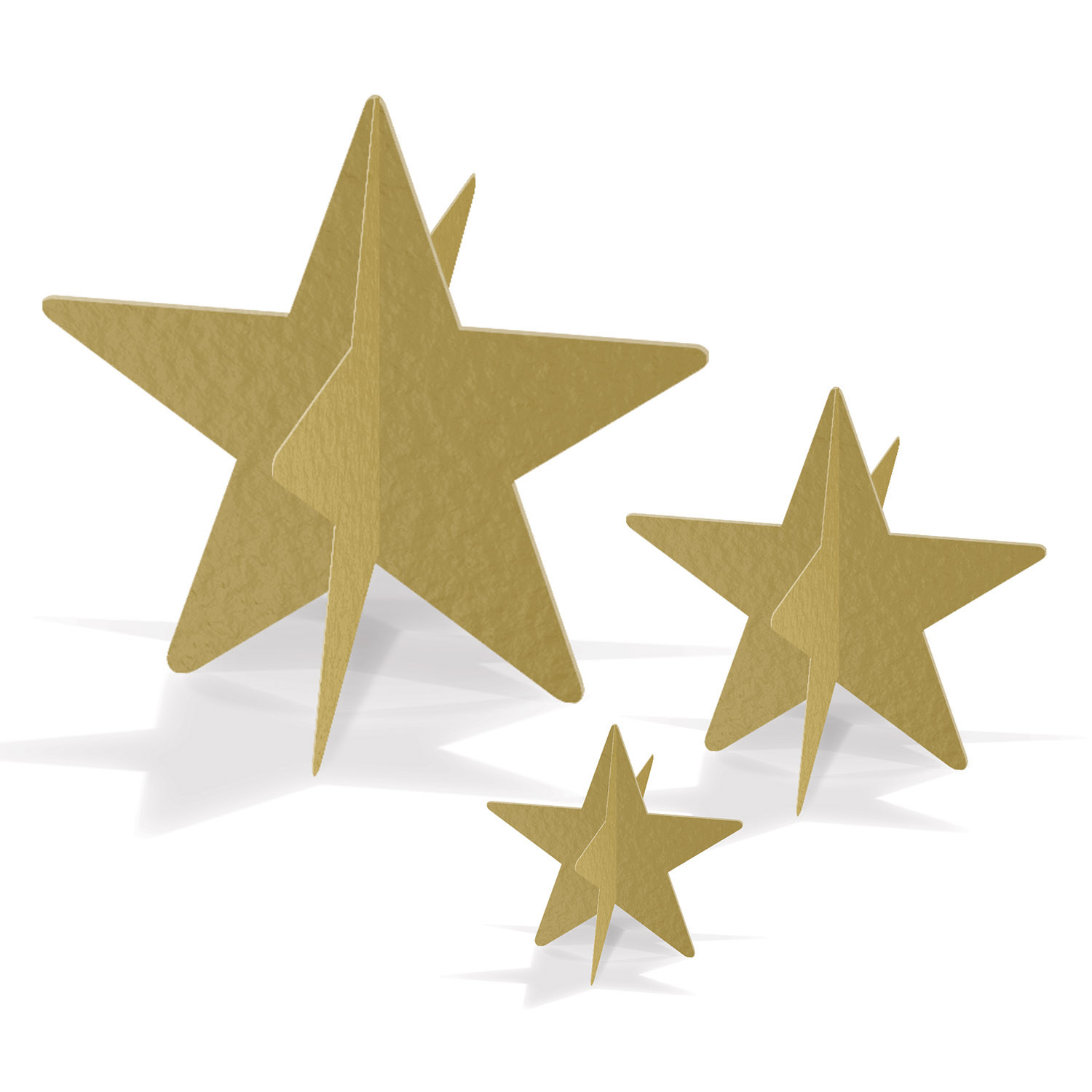3-D gold foil star table centerpieces in a small, medium, and large size