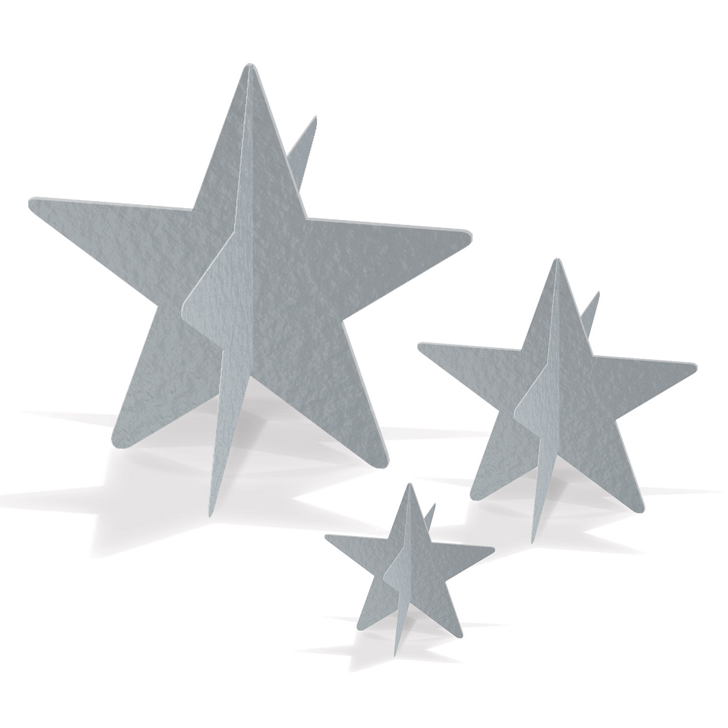 3-D silver foil star table centerpiece in small, medium, and large.