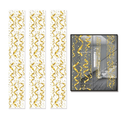Gold serpentine and confetti decorated hanging party panels.