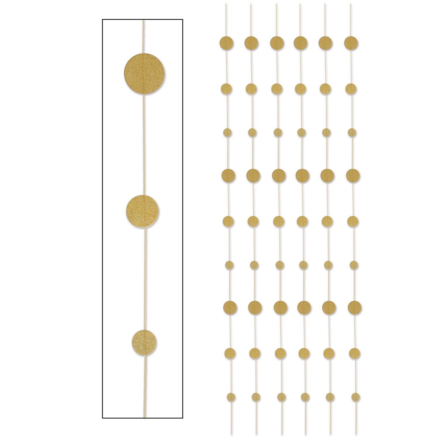 Gold glittered dot vertical hanging stringer