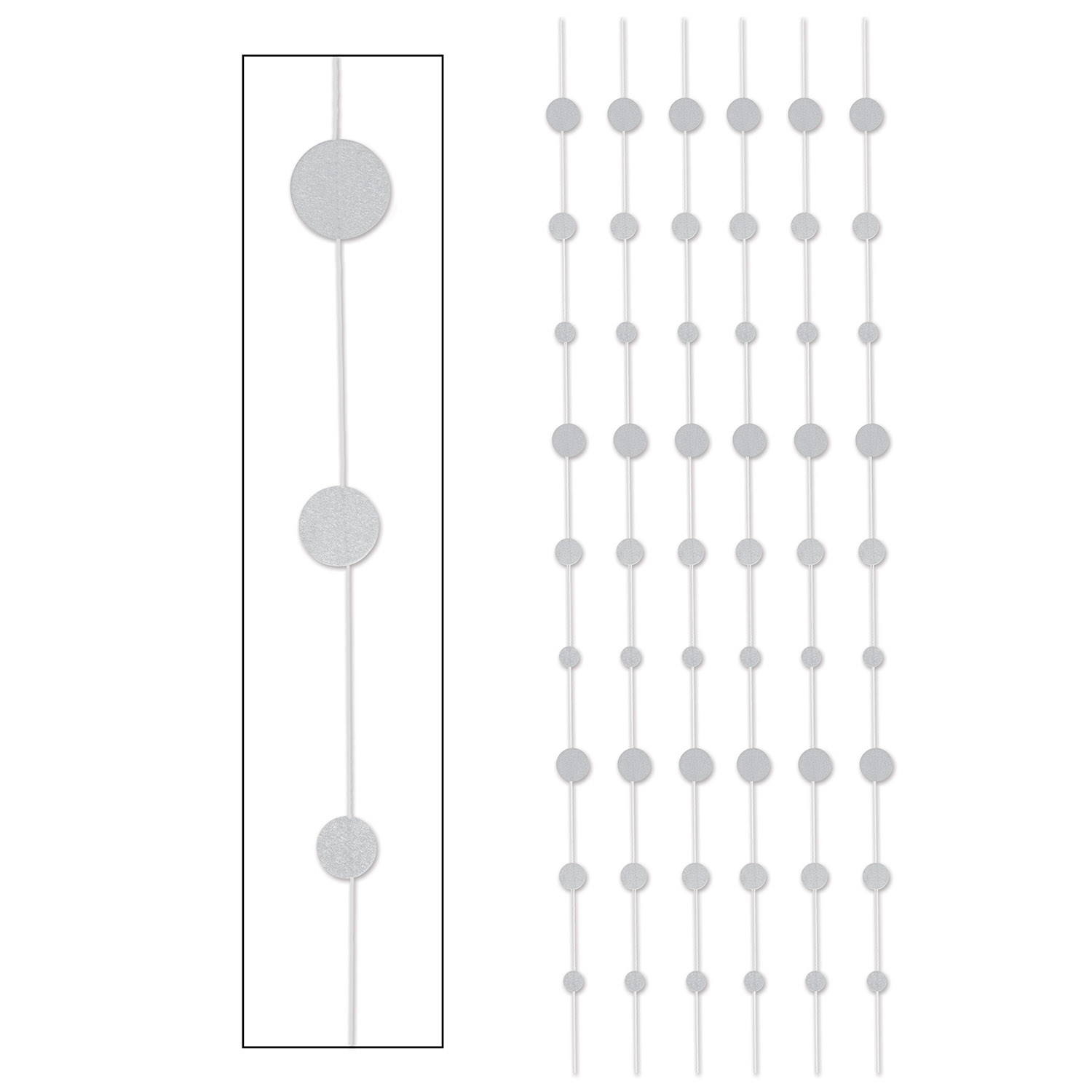 Silver glittered dot vertical hanging stringers