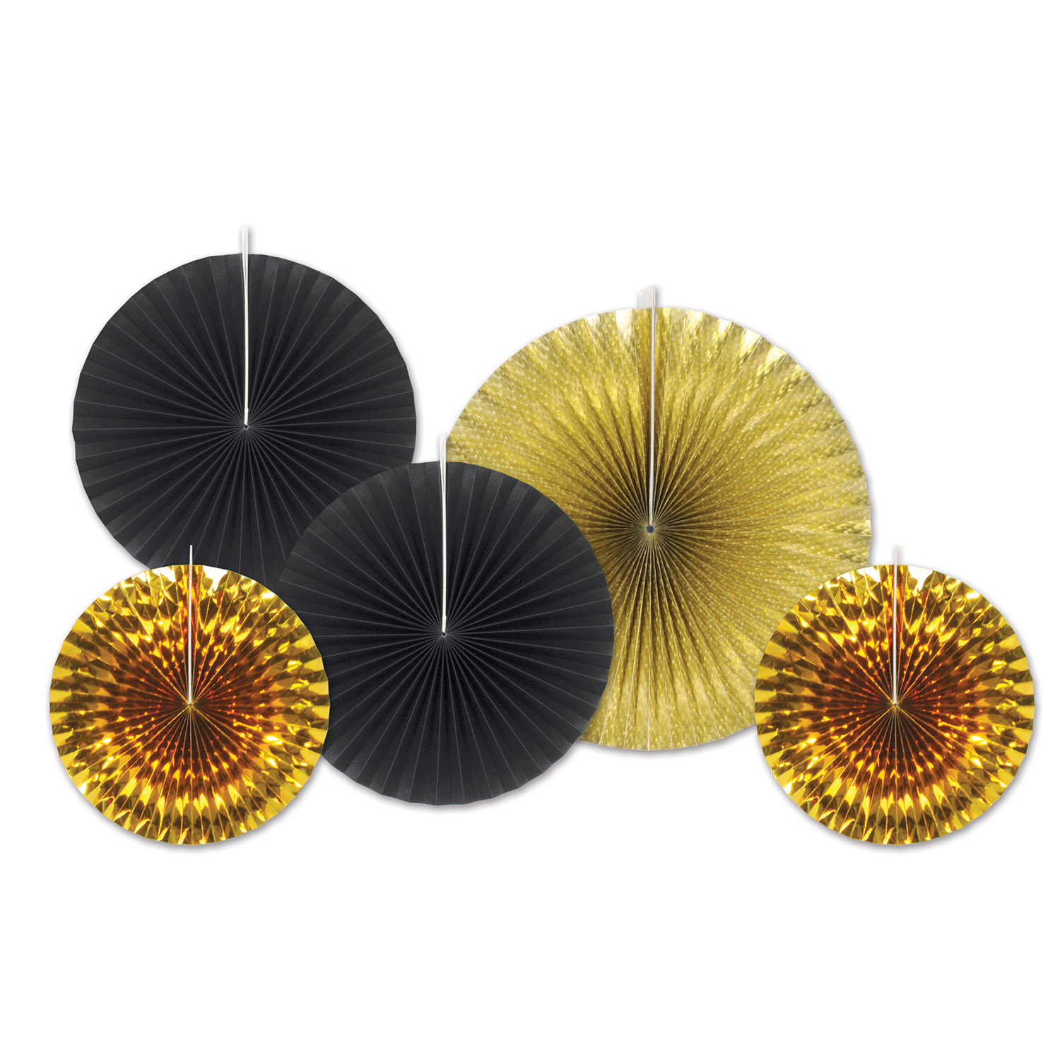 Assorted sized paper and foiled fans in gold and black.