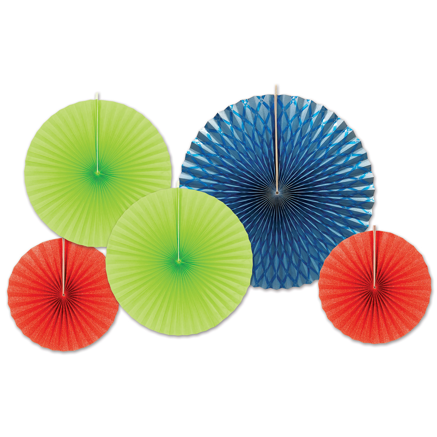 Assorted sized paper and foil fans in blue, green, and red.
