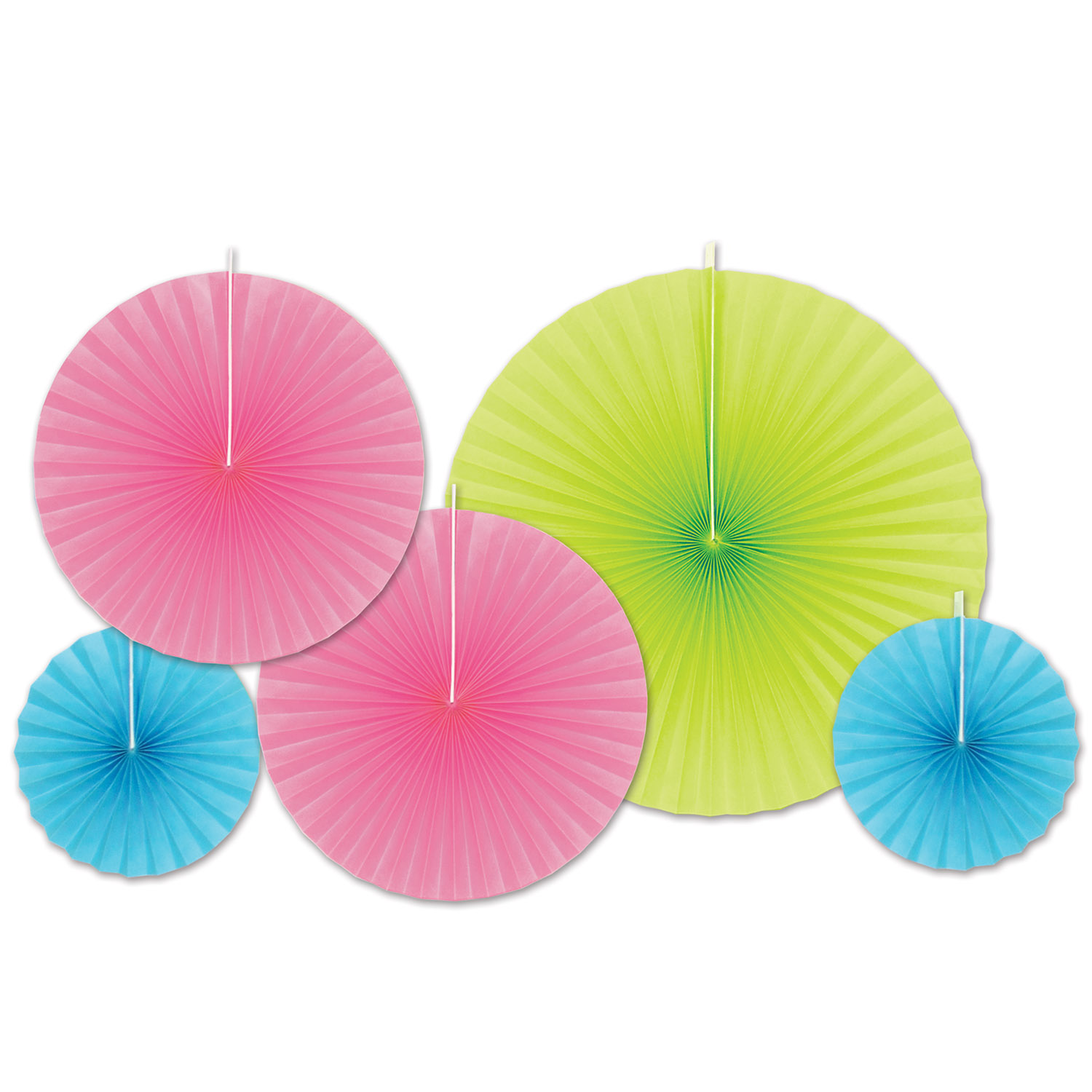 Assorted sized paper accordion fans in lime green, pink, and light blue