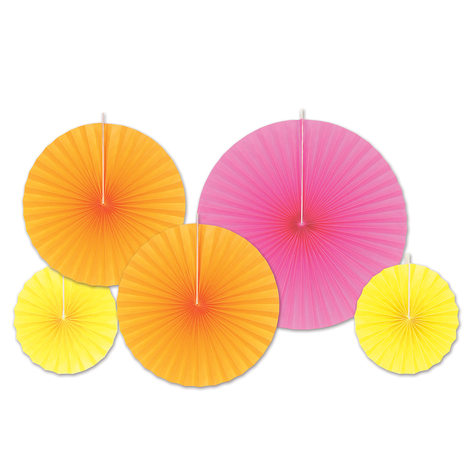 Assorted sized accordion paper fans in orange, pink, and yellow