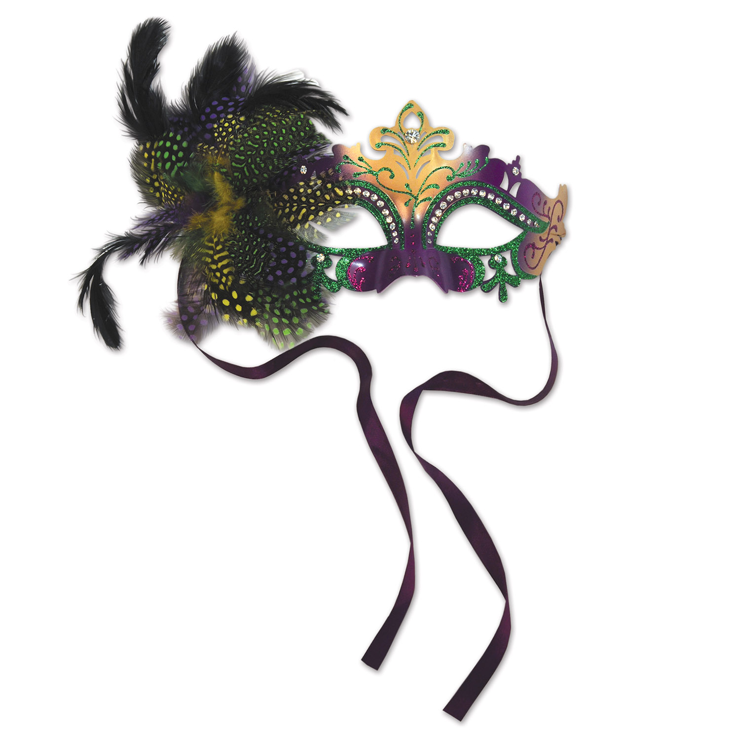 metal mask in green, gold, and purple with a feather above the eye on one side