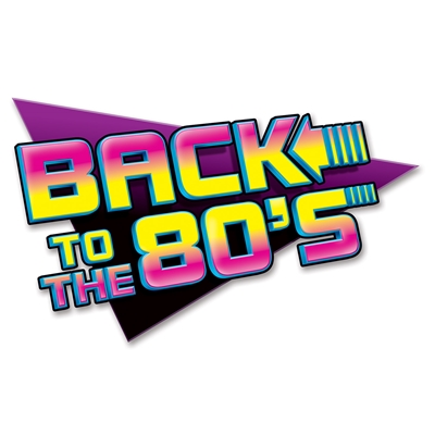"1980s style sign in purple, black and yellow, that reads, ""Back to the 80s"""