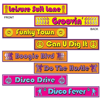 1970s style paper signs with disco era sayings