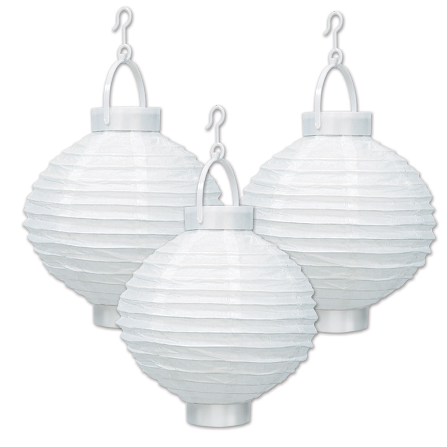 Light-up all white hanging paper lanterns