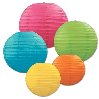 Multi-colored paper lanterns in various sizes.
