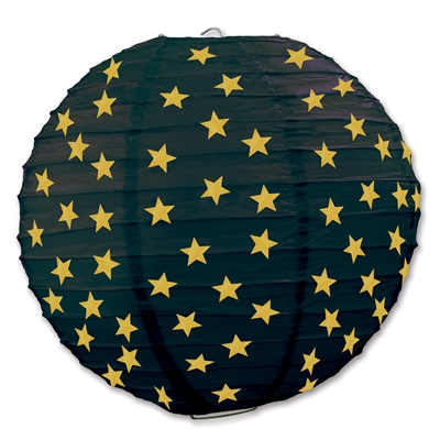 Black ceiling decoration with gold stars shaped to replicate a lantern.