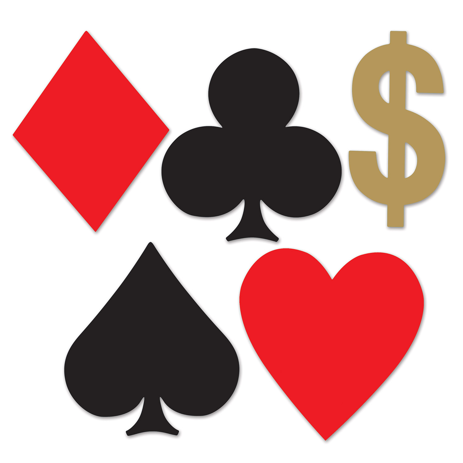 cutout in the shape and colors of playing card suits