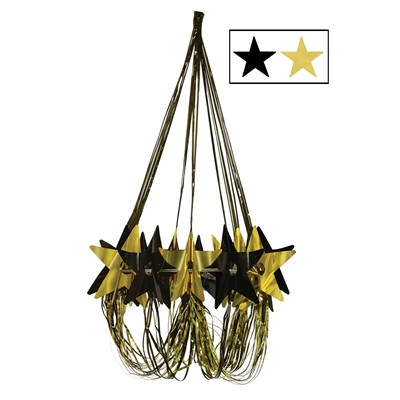 Chandelier decoration with black and gold metallic material including stars.