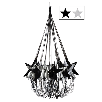 Chandelier decor with black and silver accents and stars.