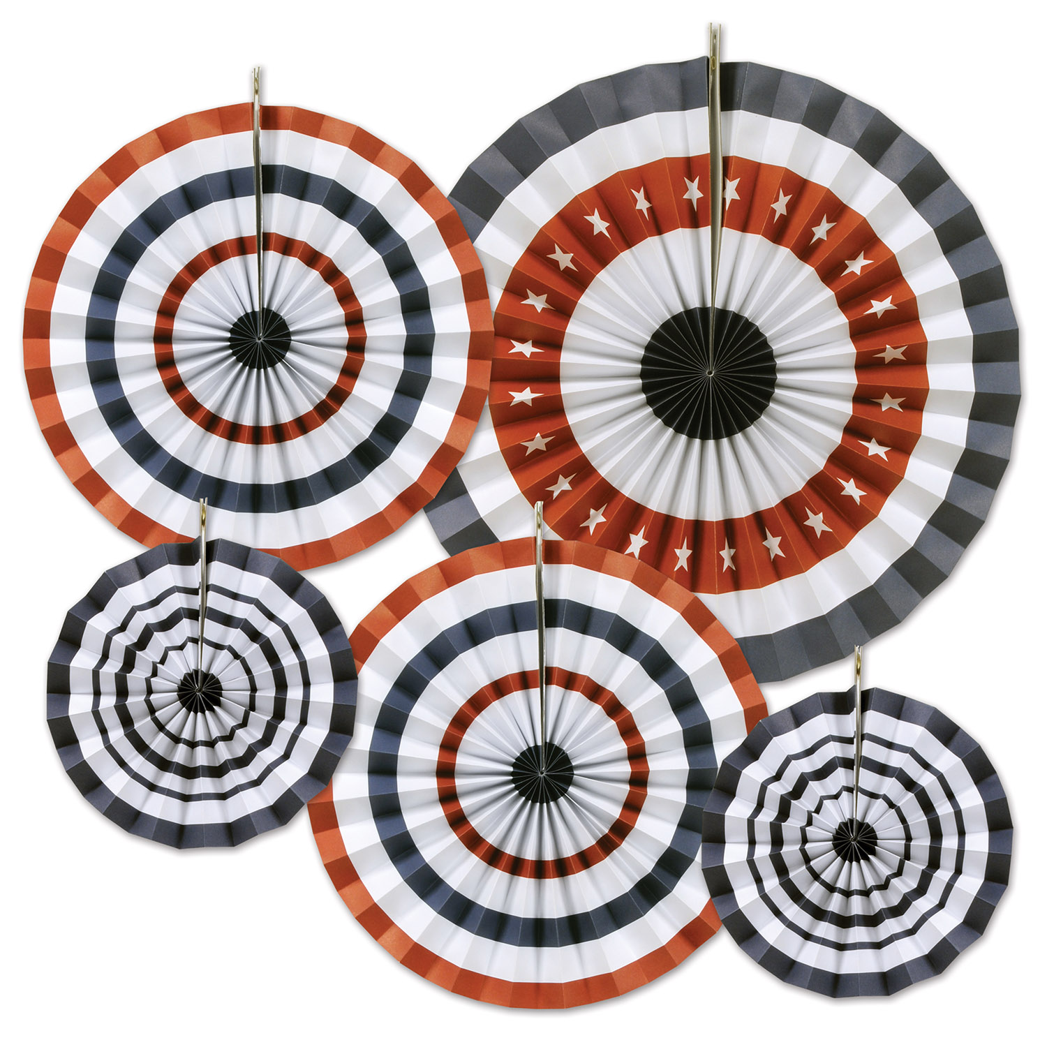 hanging red, white, and blue paper fans in multiple sizes