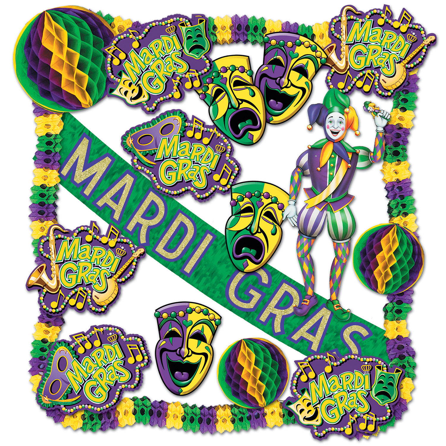 a green, gold, and purple decorating kit for Mardi Gras