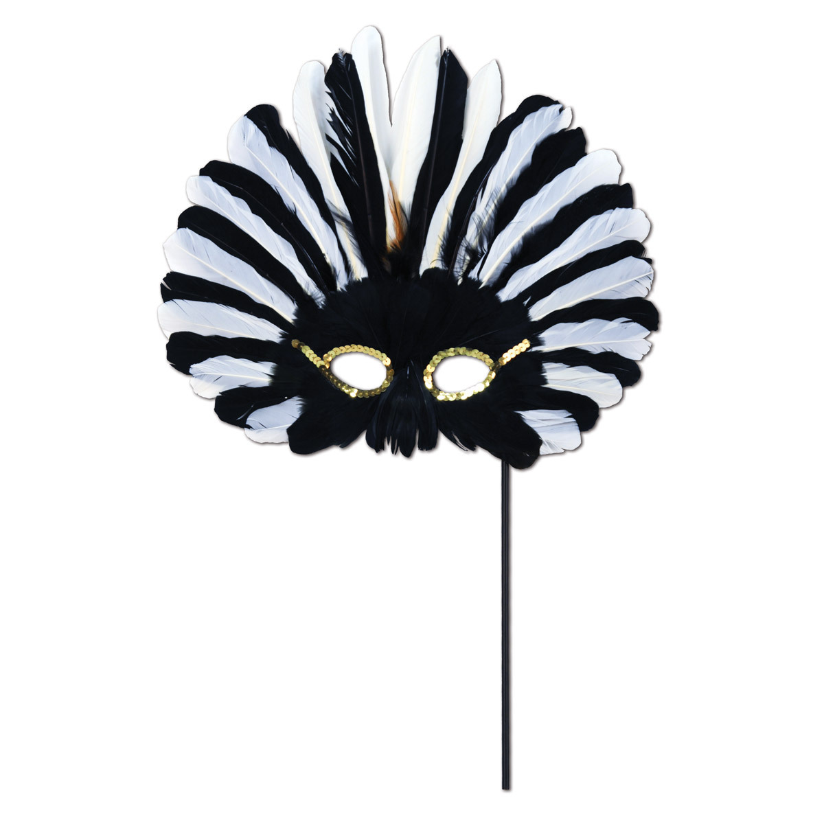 Black and white feathered mask on black stick.