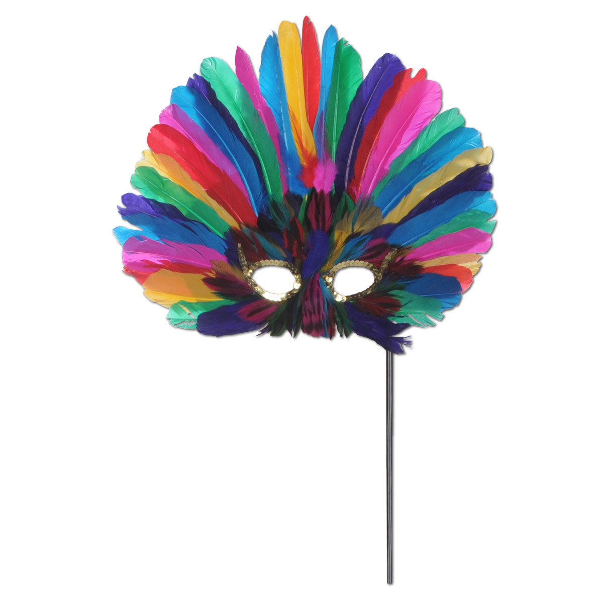 Multi-colored, feathered party mask on a black stick.