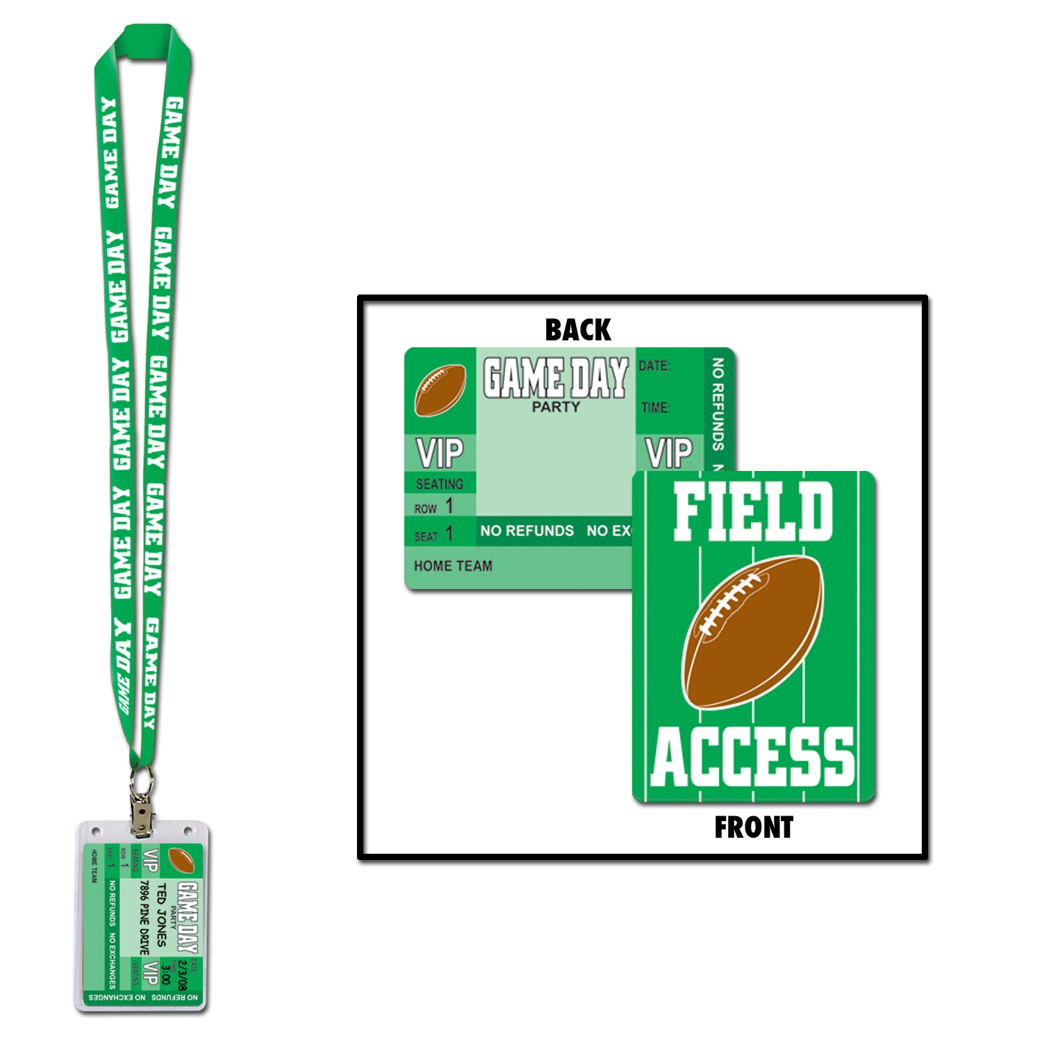 green game day lanyard with a field access pass at the bottom
