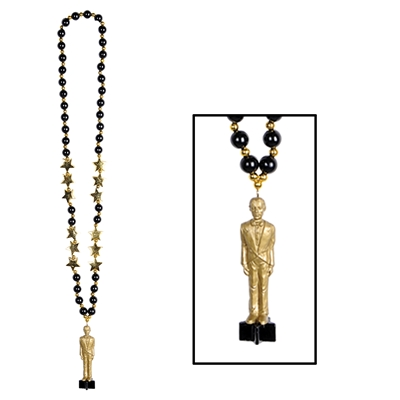 black beads with an awards night award statue at the bottom