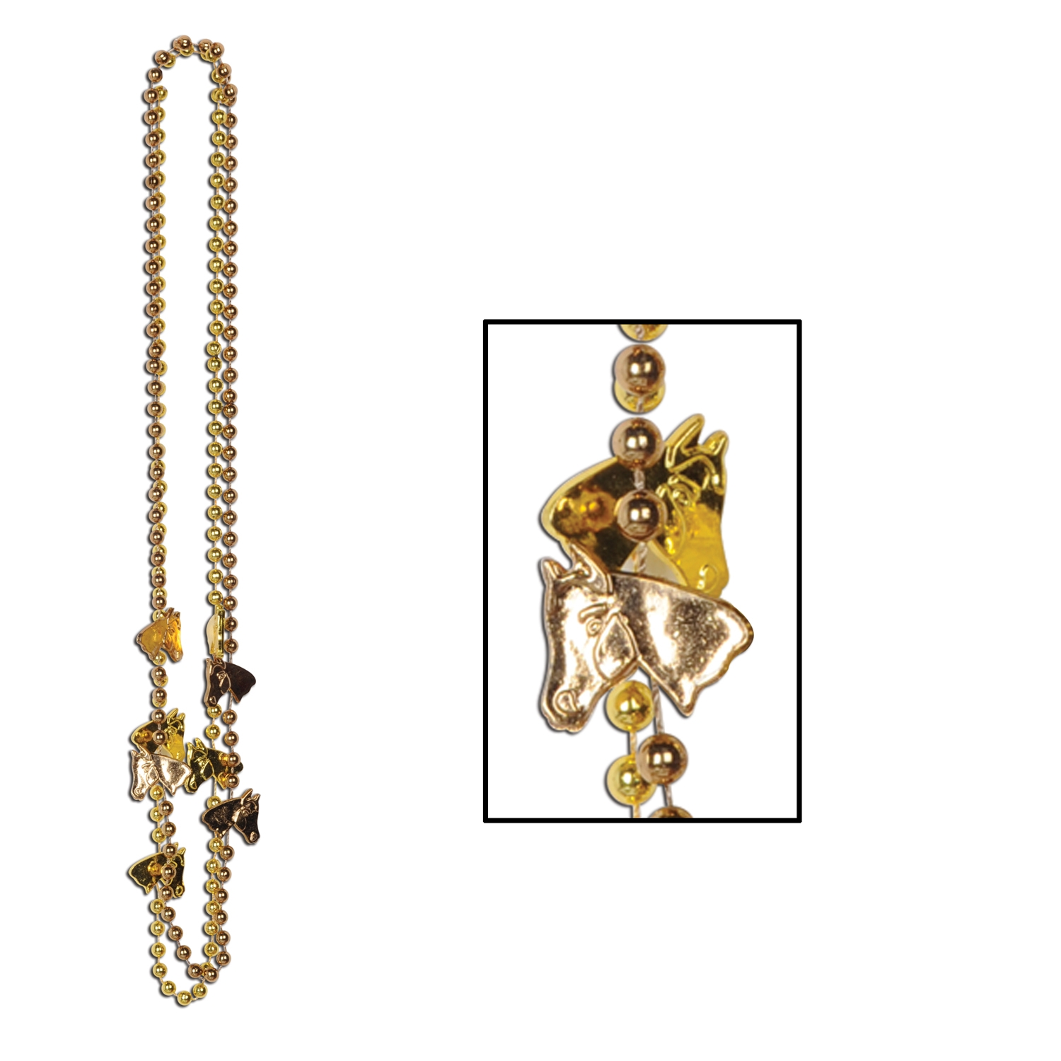 gold necklace with horse charms hanging off of the beads
