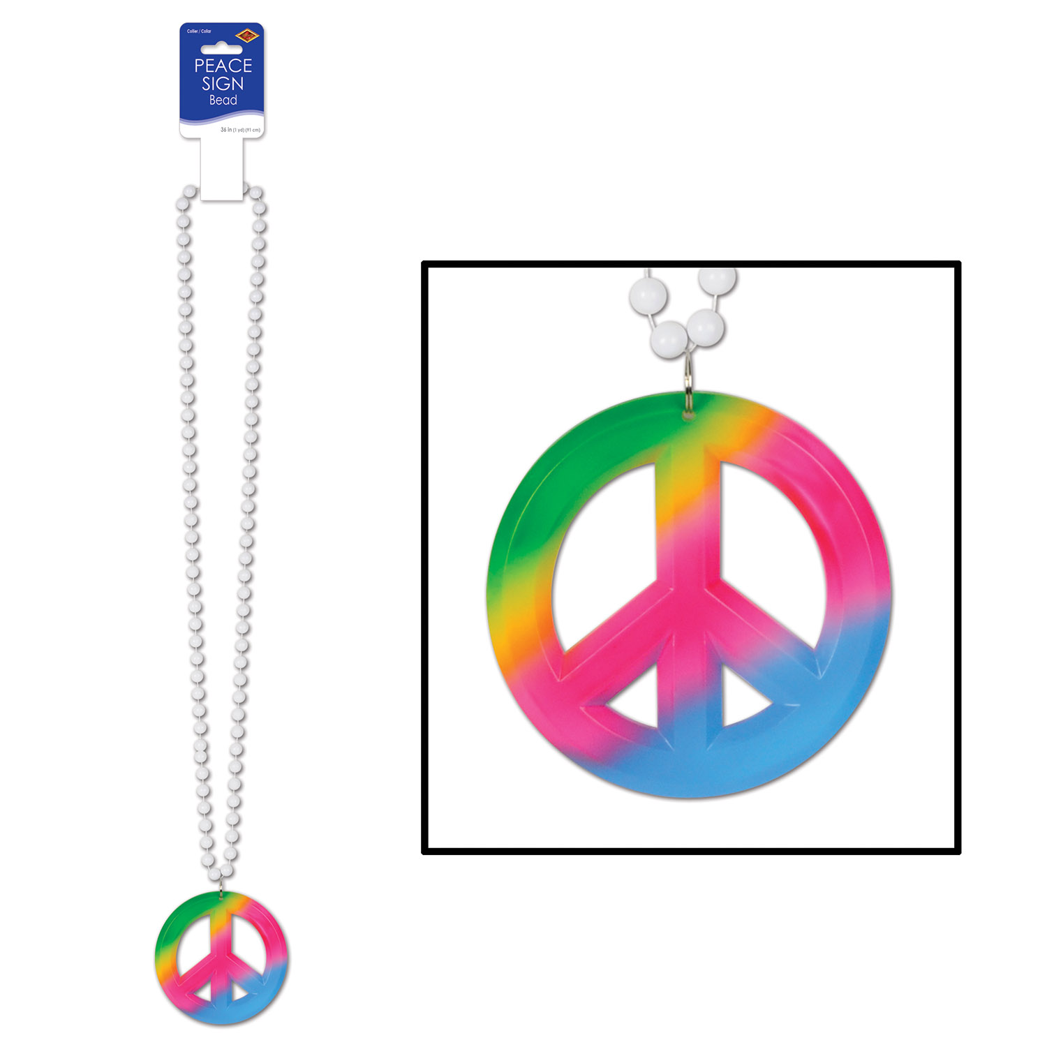 white beads with a large Tie-Dyed peace sign medallion