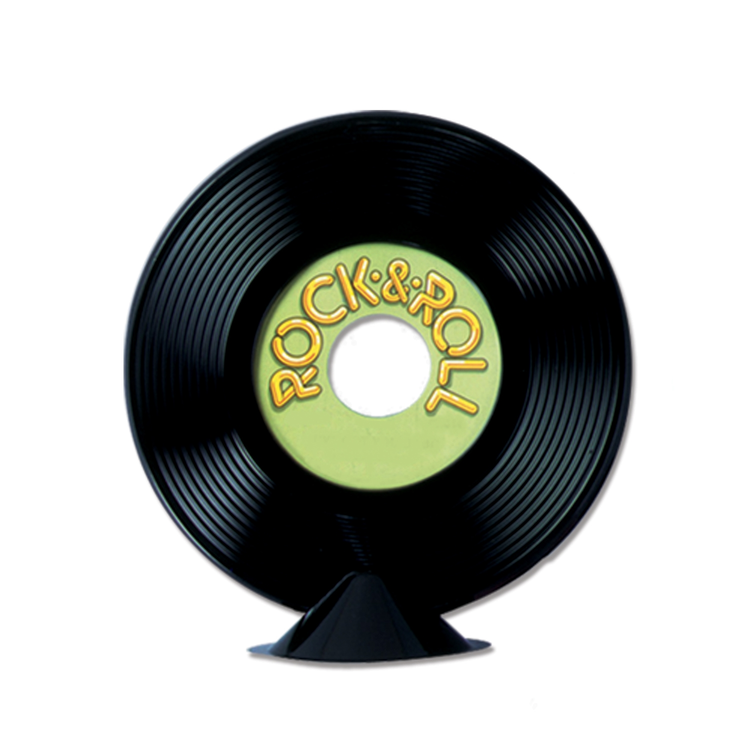 black plastic record with a green label that reads Rock & Roll that sits on the table as a centerpiece
