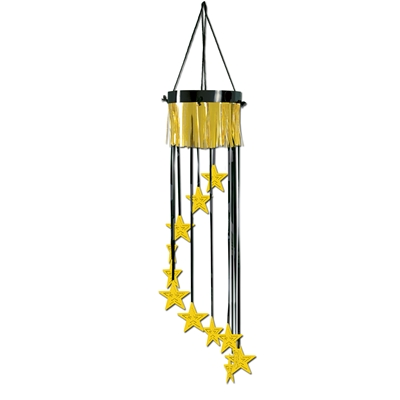 Ceiling decoration replicating a shimmering chandelier with a black and gold metallic design and gold stars.