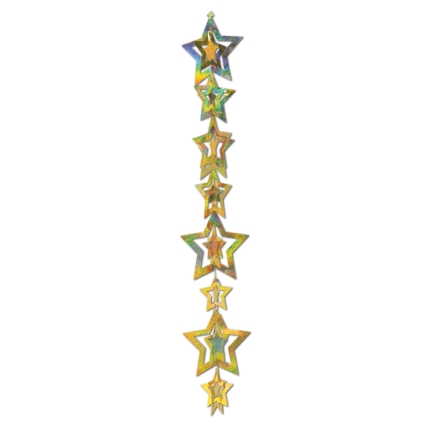 Dangling decoration with various sized 3-d gold prismatic stars.