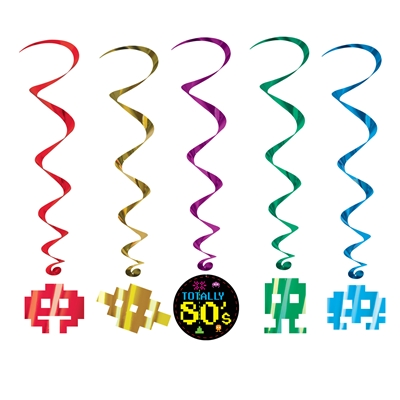 retro hanging whirl decoration that has 1980s style arcade game characters hanging from the whirls