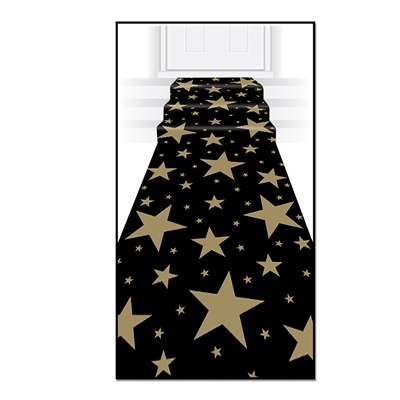 Floor runner with a black background and assorted sized gold stars.