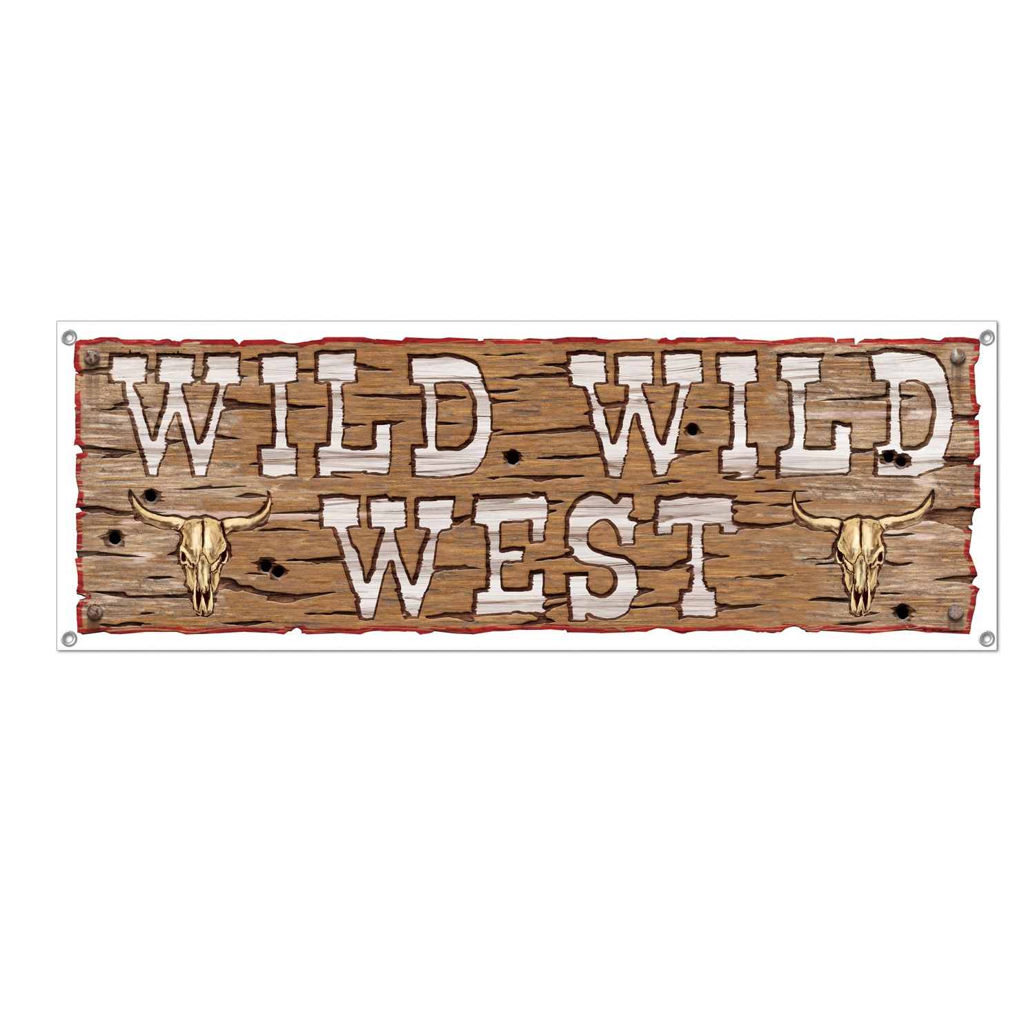 wooden looking plastic sign that reads wild wild west