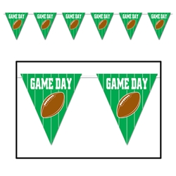 pennant banner that looks like a football field that reads game day and has a brown football