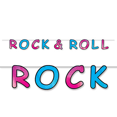 pink and blue hanging banner that reads rock & roll