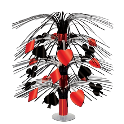 casino themed centerpiece in red and black with card suit decor hanging off of it