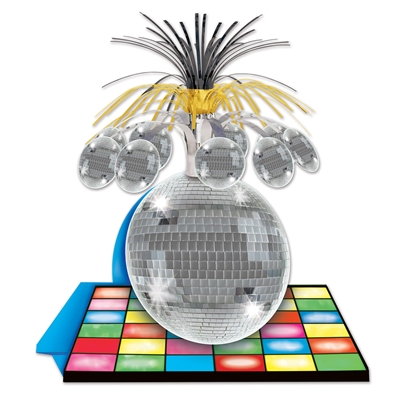 table centerpiece with a disco ball on a assorted color floor