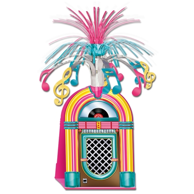 1950s style jukebox centerpiece with musical notes on the top